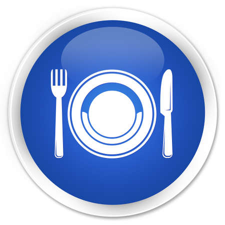 food plate: Food plate icon blue glossy round button