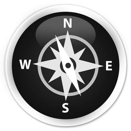 glossy icon: Compass icon black glossy round button