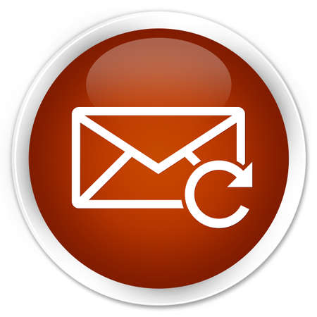Refresh email icon brown glossy round button