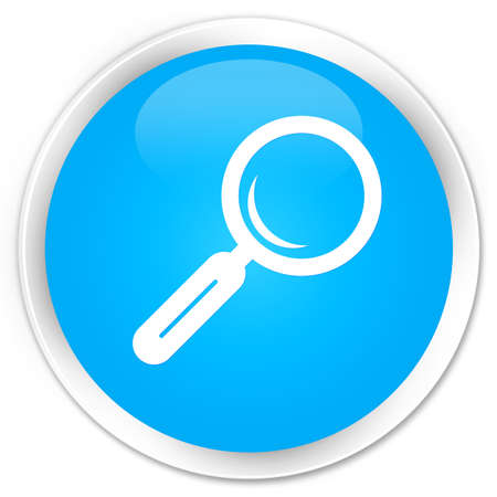 looking for work: Magnifying glass icon cyan blue glossy round button Stock Photo
