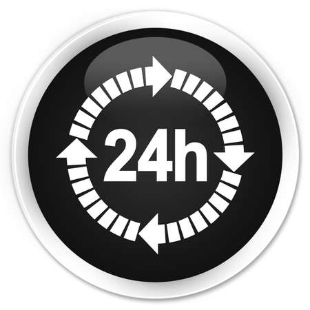 twenty four hours: 24 hours delivery icon black glossy round button Stock Photo