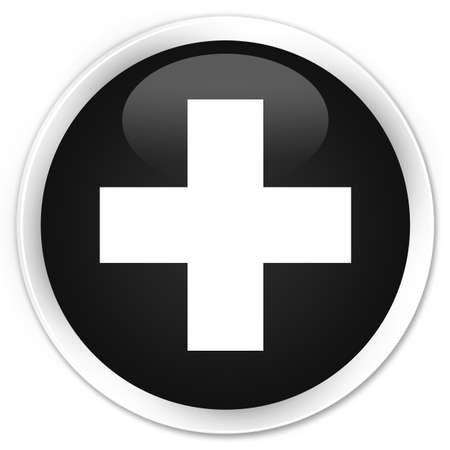 medical choice: Plus icon black glossy round button