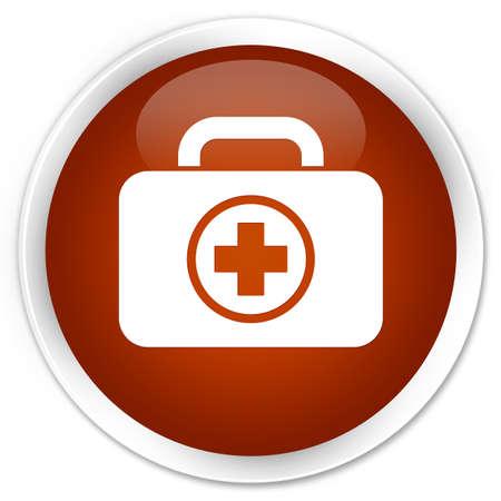 valigia: pulsante rotondo lucido Kit di pronto soccorso icona marrone