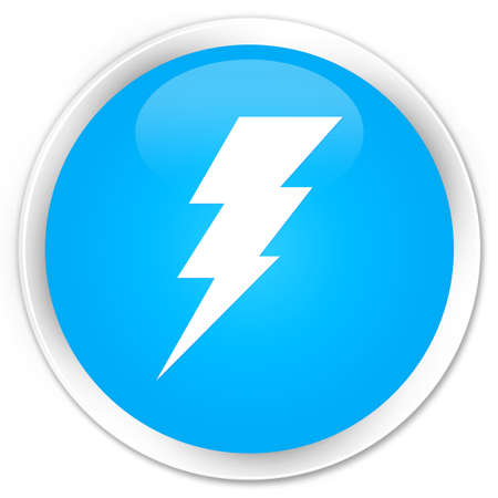 3d lightning: Electricity icon cyan blue glossy round button
