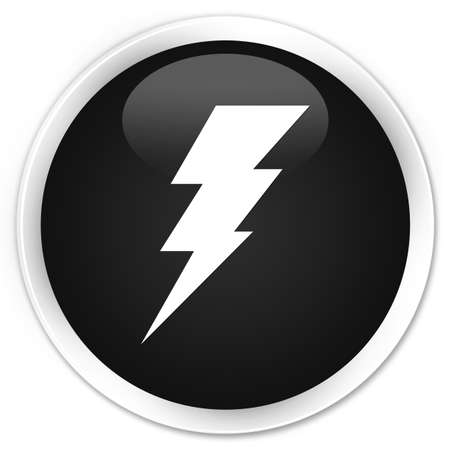 3d lightning: Electricity icon black glossy round button