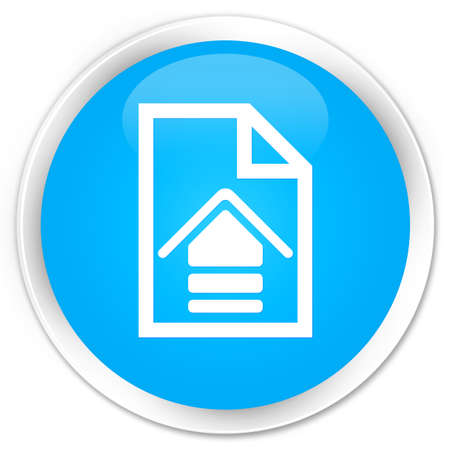 upload: Upload document icon cyan blue glossy round button Stock Photo