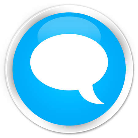 instant message: Chat icon cyan blue glossy round button Stock Photo