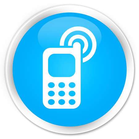 ringing: Cellphone ringing icon cyan blue glossy round button