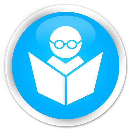 elearning: Elearning icon cyan blue glossy round button Stock Photo