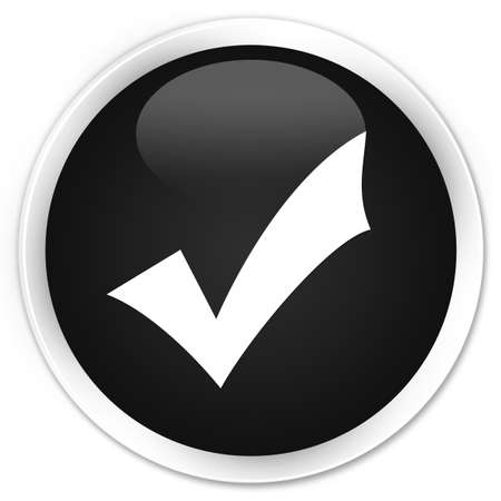 validation: Validation icon black glossy round button