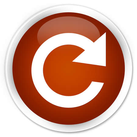 reply: Reply rotate icon brown glossy round button Stock Photo