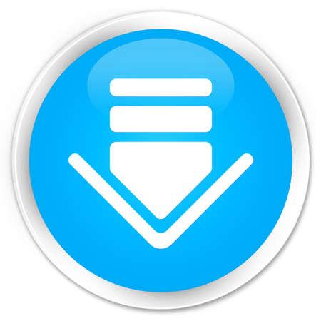 cyan: Download icon cyan blue glossy round button
