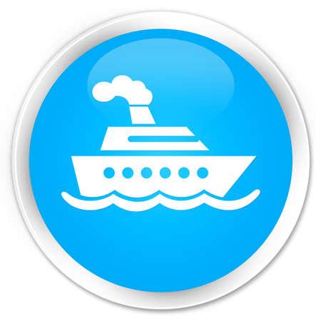 cruise ship icon: Cruise ship icon cyan blue glossy round button Stock Photo