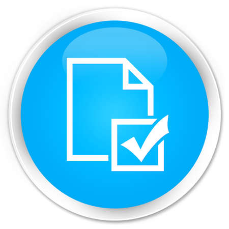 positive note: Survey icon cyan blue glossy round button