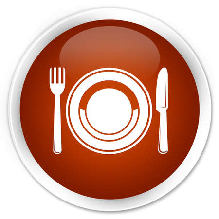 food plate: Food plate icon brown glossy round button Stock Photo