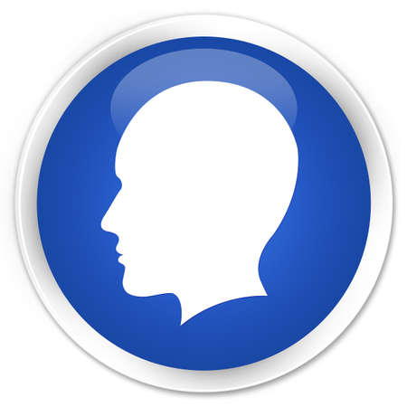 man side view: Head (men face) icon blue glossy round button