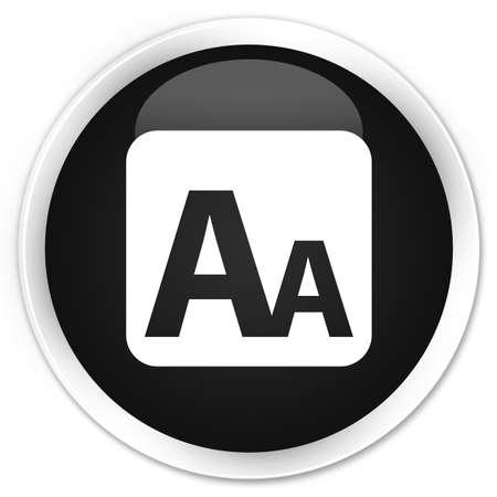 box size: Font size box icon black glossy round button Stock Photo