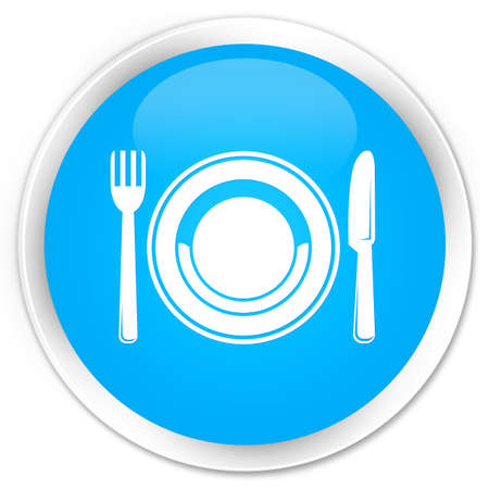 food plate: Food plate icon cyan blue glossy round button Stock Photo