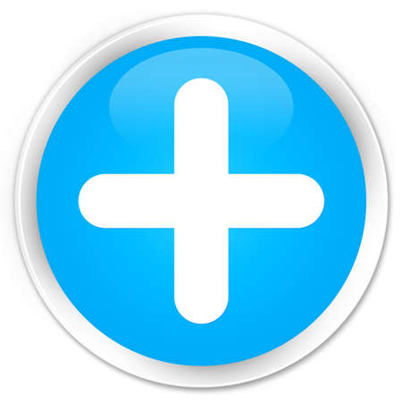 joining services: Plus icon cyan blue glossy round button Stock Photo