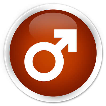 homosexual sex: Male sign icon brown glossy round button