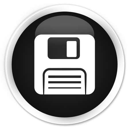floppy: Floppy disk icon black glossy round button