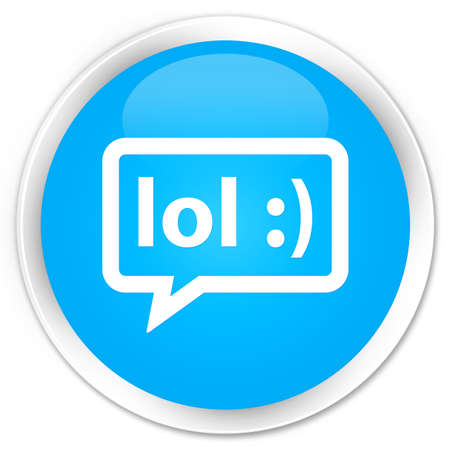 laugh out loud: LOL bubble icon cyan blue glossy round button Stock Photo