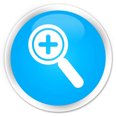 zoom in: Zoom in icon cyan blue glossy round button