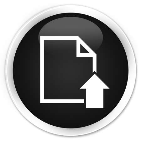upload: Upload document icon black glossy round button