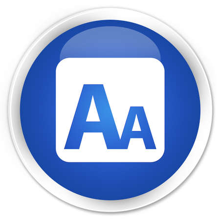 box size: Font size box icon blue glossy round button Stock Photo