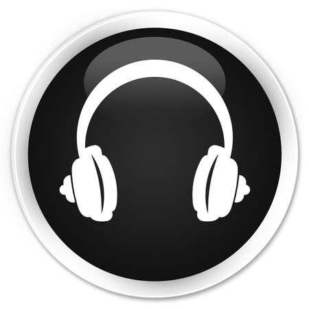 headphone: Headphone icon black glossy round button