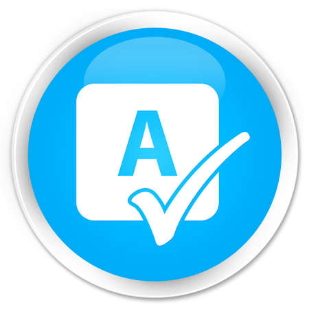 ok sign language: Spell check icon cyan blue glossy round button
