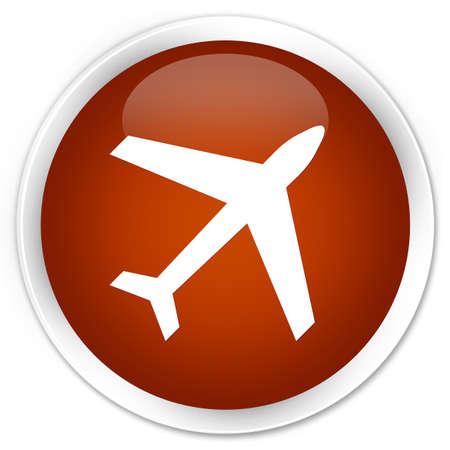 airway: Plane icon brown glossy round button