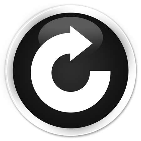reply: Reply arrow icon black glossy round button Stock Photo