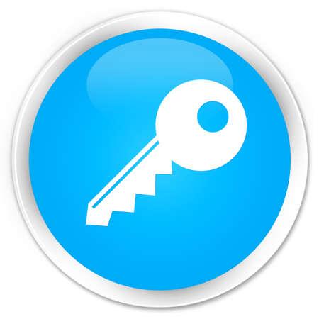 valid: Key icon cyan blue glossy round button