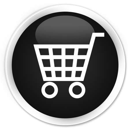 technology transaction: Ecommerce icon black glossy round button Stock Photo