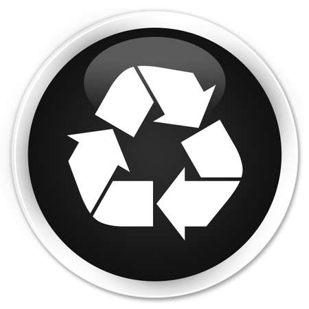 echo: Recycle icon black glossy round button