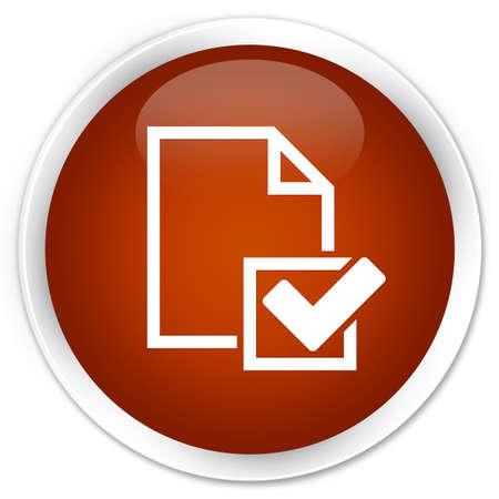 positive note: Checklist icon brown glossy round button