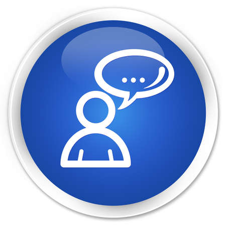 family discussion: Social network icon blue glossy round button