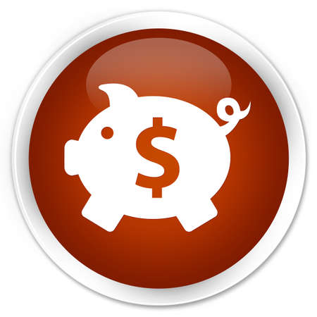 dollar sign icon: Piggy bank (dollar sign) icon brown glossy round button Stock Photo