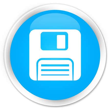 floppy disk: Floppy disk icon cyan blue glossy round button