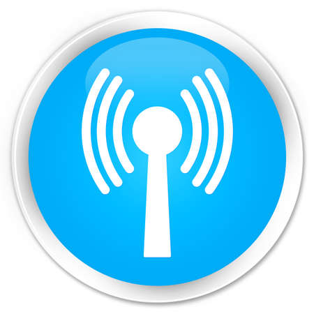 crossover: Wlan network icon cyan blue glossy round button Stock Photo