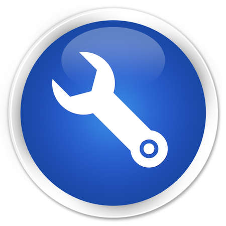 implements: Wrench icon blue glossy round button