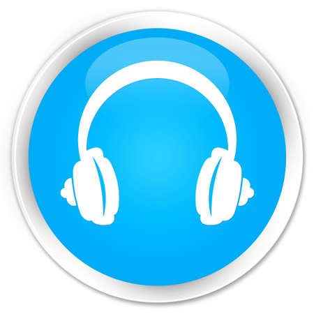 glossy button: Headphone icon cyan blue glossy round button Stock Photo