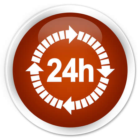 twenty four hours: 24 hours delivery icon brown glossy round button Stock Photo