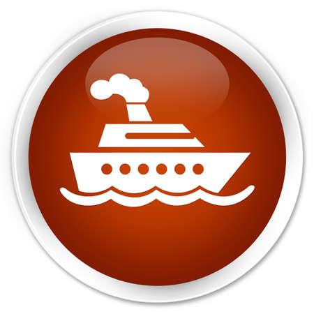cruise ship icon: Cruise ship icon brown glossy round button Stock Photo