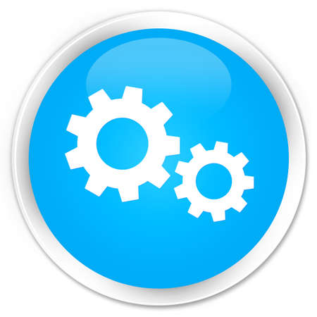 preference: Process icon cyan blue glossy round button Stock Photo