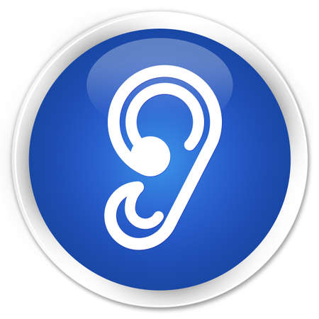 blue button: Ear icon blue glossy round button