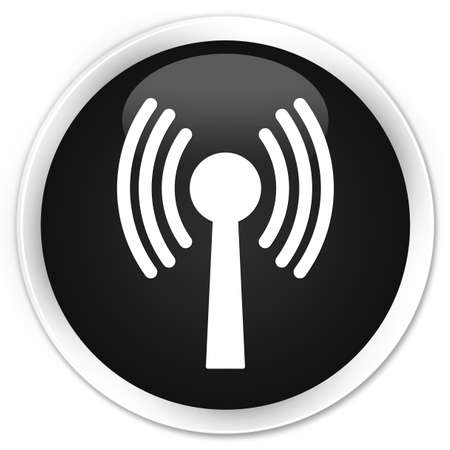 crossover: Wlan network icon black glossy round button
