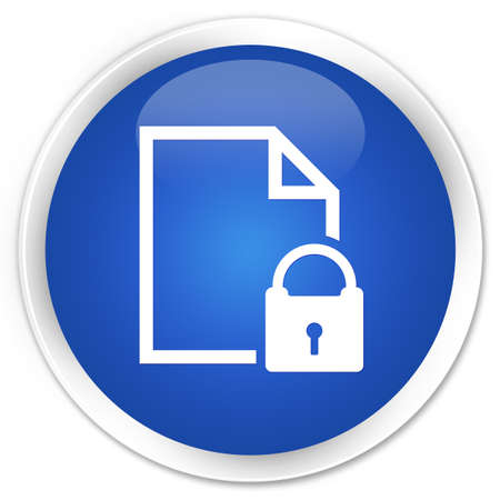 control tools: Secure document icon blue glossy round button Stock Photo