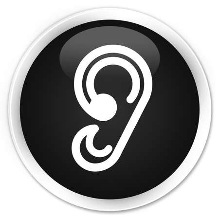 sensitivity: Ear icon black glossy round button